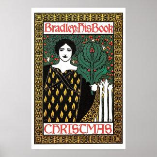 Vintage art Nouveau Christmas book cover Posters