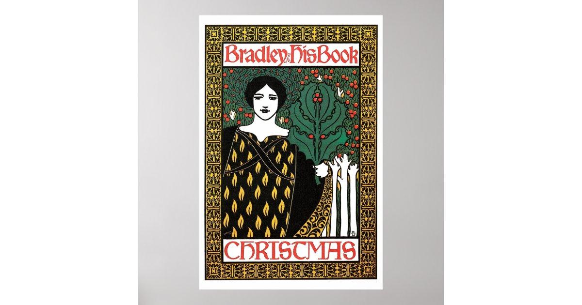 Vintage Book Cover Posters ~ Vintage art nouveau christmas book cover poster zazzle