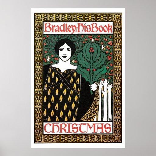 Book Cover Art Prints ~ Vintage art nouveau christmas book cover posters zazzle