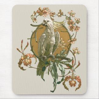 Vintage Art Nouveau, Cockatoo Bird, Orchid Flowers Mouse Pad