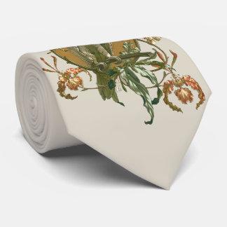 Vintage Art Nouveau, Cockatoo Bird, Orchid Flowers Neck Tie