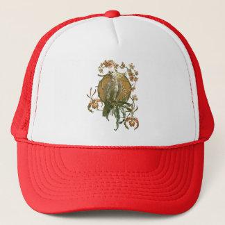 Vintage Art Nouveau, Cockatoo Bird, Orchid Flowers Trucker Hat