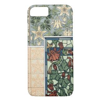 Vintage Art Nouveau, Columbine Aquilegia Flowers iPhone 8/7 Case