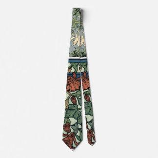 Vintage Art Nouveau, Columbine Aquilegia Flowers Tie