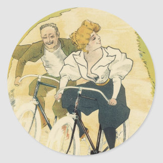 Vintage Art Nouveau Couple Bicycle Gladiator Cycle Classic Round Sticker
