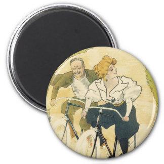 Vintage Art Nouveau Couple Bicycle Gladiator Cycle Fridge Magnets