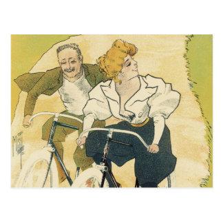 Vintage Art Nouveau Couple Bicycle Gladiator Cycle Postcard