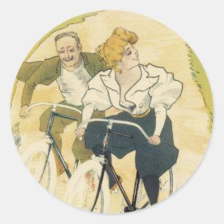 Vintage Art Nouveau Couple Bicycle Gladiator Cycle Sticker