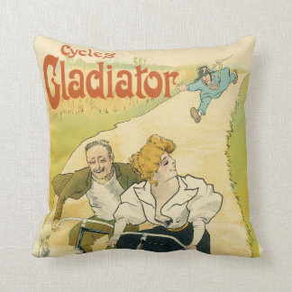 Vintage Art Nouveau Couple Bicycle Gladiator Cycle Throw Pillow