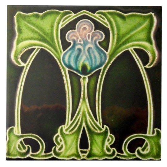 Vintage Art Nouveau Deco Majolica Floral Craftsman Ceramic