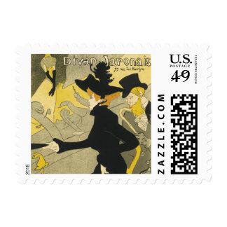 Vintage Art Nouveau, Divan Japonais Nightclub Cafe Postage Stamp
