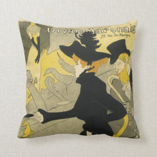 Vintage Art Nouveau, Divan Japonais Nightclub Cafe Throw Pillow