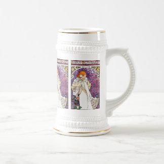 Vintage Art Nouveau Drinking Stein/ Mug by Mucha
