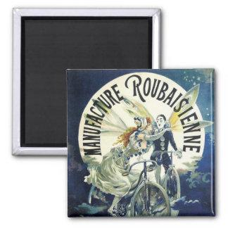 Vintage Art Nouveau Fairies, Pierrot Bicycle Moon 2 Inch Square Magnet