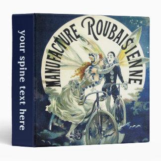 Vintage Art Nouveau Fairies, Pierrot Bicycle Moon 3 Ring Binder