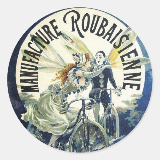 Vintage Art Nouveau Fairies, Pierrot Bicycle Moon Classic Round Sticker