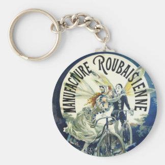 Vintage Art Nouveau Fairies, Pierrot Bicycle Moon Keychain