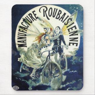 Vintage Art Nouveau Fairies, Pierrot Bicycle Moon Mouse Pad