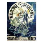 Vintage Art Nouveau Fairies, Pierrot Bicycle Moon Postcard