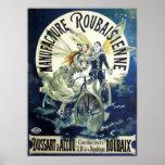 Vintage Art Nouveau Fairies, Pierrot Bicycle Moon Print