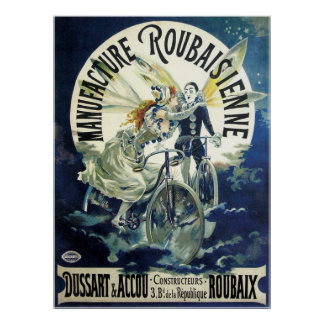 Vintage Art Nouveau Fairies, Pierrot Bicycle Moon Poster