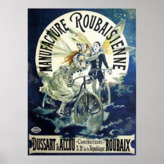 Vintage Art Nouveau Fairies, Pierrot Bicycle Moon Poster