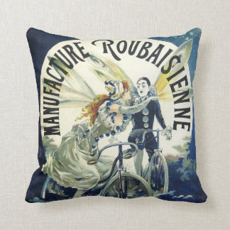 Vintage Art Nouveau Fairies, Pierrot Bicycle Moon Throw Pillow