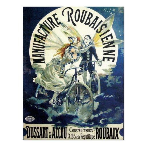 Vintage Art Nouveau; Fairy Pierrot Bicycle Moon Postcards