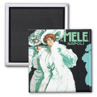 Vintage Art Nouveau, Fancy Women and Italy Fashion 2 Inch Square Magnet