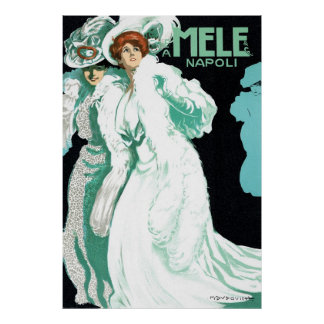 Vintage Art Nouveau, Fancy Women and Italy Fashion Poster