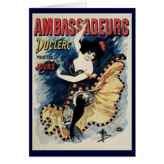 Vintage Art Nouveau Flamenco Dancer Ambassadeurs Greeting Cards