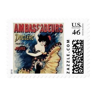 Vintage Art Nouveau Flamenco Dancer Ambassadeurs Postage Stamps