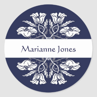 Vintage Art Nouveau Floral Name Label Classic Round Sticker