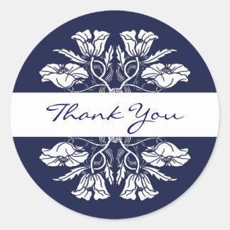Vintage Art Nouveau Floral Thank You Sticker