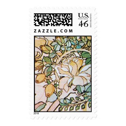 Vintage Art Nouveau Flowers Stamp