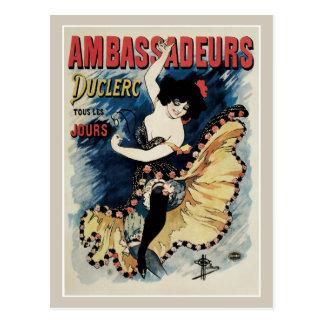 Vintage art nouveau French cancan dance ad Postcard