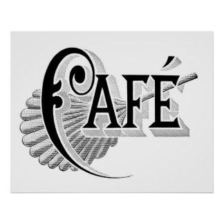 Vintage Art Nouveau French Chic Cafe Logo Poster