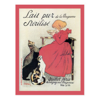 Vintage Art nouveau French milk ad, cats, girl Postcard