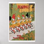 Vintage art Nouveau funny girls on a tandem Poster