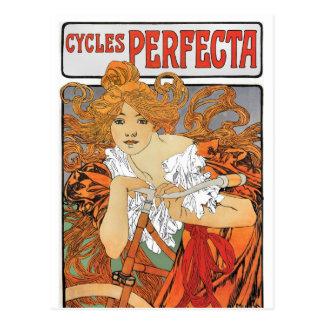 Vintage Art Nouveau Girl Cyclist Postcard