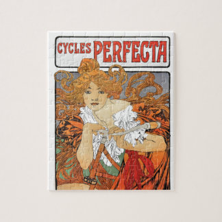 Vintage Art Nouveau Girl with Bicycle Jigsaw Puzzles