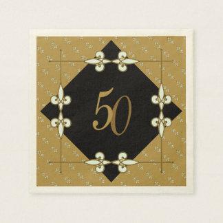 Vintage Art Nouveau Golden Adjustable Anniversary Paper Napkin