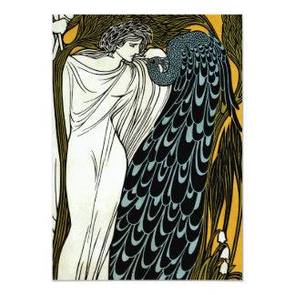 Vintage Art Nouveau Greek Woman Peacock Wedding 5x7 Paper Invitation Card