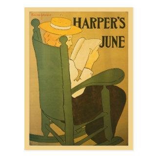 Vintage art nouveau Harper's magazine June Postcard