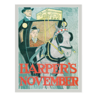 Vintage art nouveau Harper's magazine November Postcards