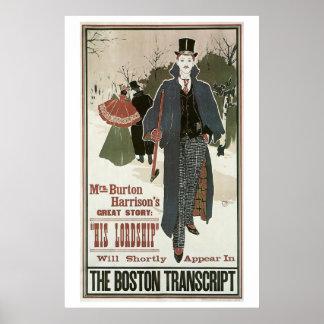 Vintage art nouveau His Lordship book ad Print
