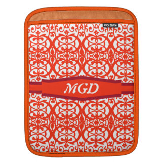 Vintage art nouveau in red monogram iPad sleeve