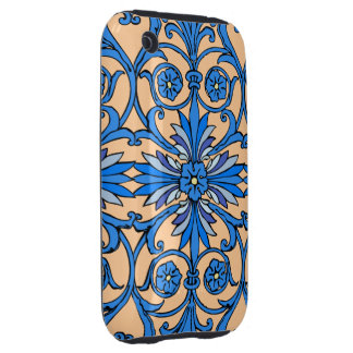 Vintage art nouveau in shades of blue iPhone 3 tough covers