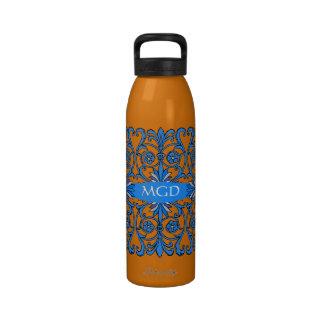 Vintage art nouveau in shades of blue monogram reusable water bottle