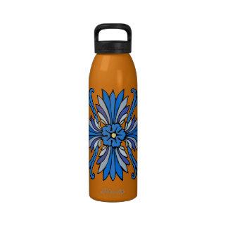 Vintage art nouveau in shades of blue drinking bottle